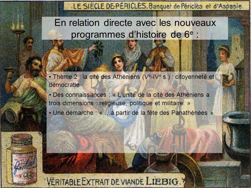 En relation directe avec les nouveaux programmes dhistoire de 6 e : Thème 2 : la cité des Athéniens (V e -IV e s.) : citoyenneté et démocratie Des con