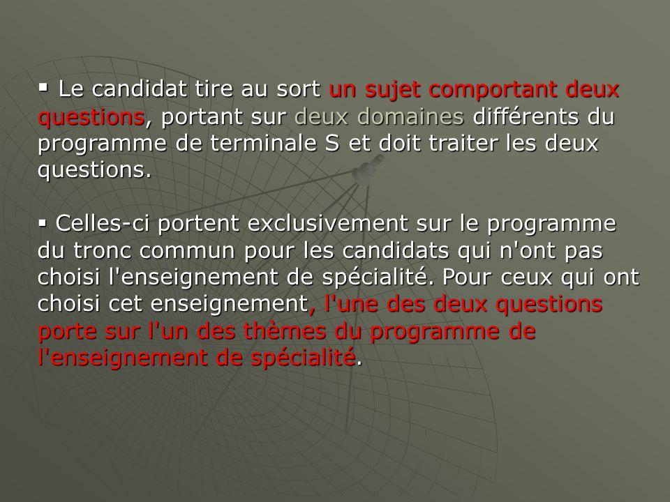 Le candidat tire au sort un sujet comportant deux questions, portant sur deux domaines différents du programme de terminale S et doit traiter les deux