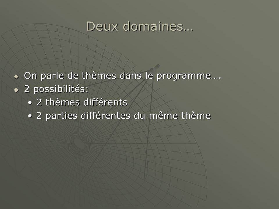 Deux domaines… On parle de thèmes dans le programme…. On parle de thèmes dans le programme…. 2 possibilités: 2 possibilités: 2 thèmes différents2 thèm