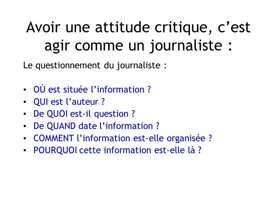 Avoir une attitude critique, cest agir comme un journaliste : Le questionnement du journaliste : OÙ est située linformation ? QUI est lauteur ? De QUO