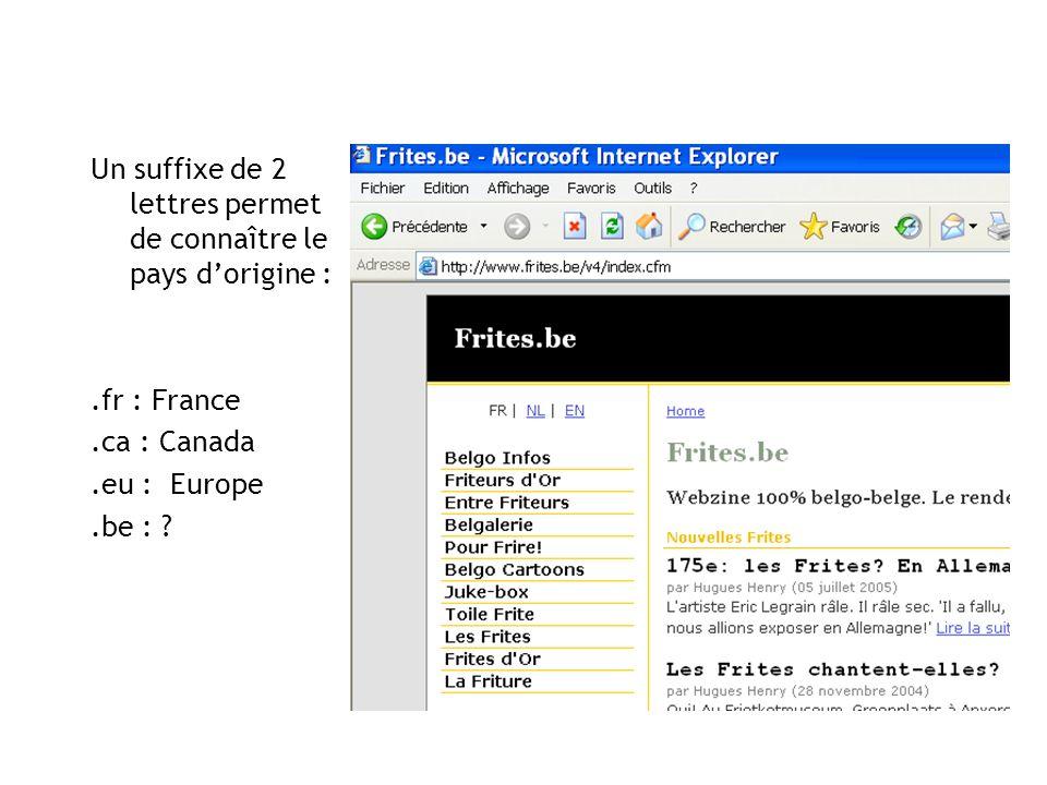 Un suffixe de 2 lettres permet de connaître le pays dorigine :.fr : France.ca : Canada.eu : Europe.be : ?
