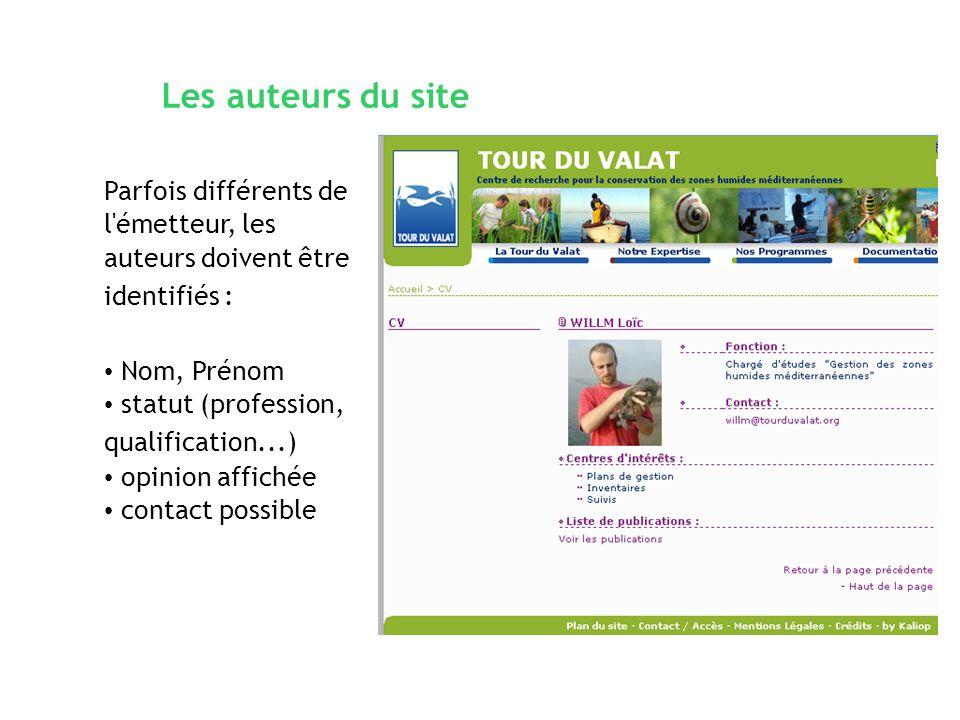 Les auteurs du site Parfois différents de l'émetteur, les auteurs doivent être identifiés : Nom, Prénom statut (profession, qualification...) opinion