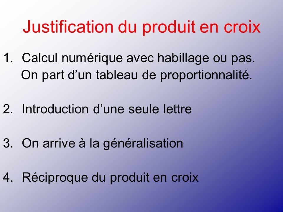Justification du produit en croix 1.Calcul numérique avec habillage ou pas. On part dun tableau de proportionnalité. 2.Introduction dune seule lettre