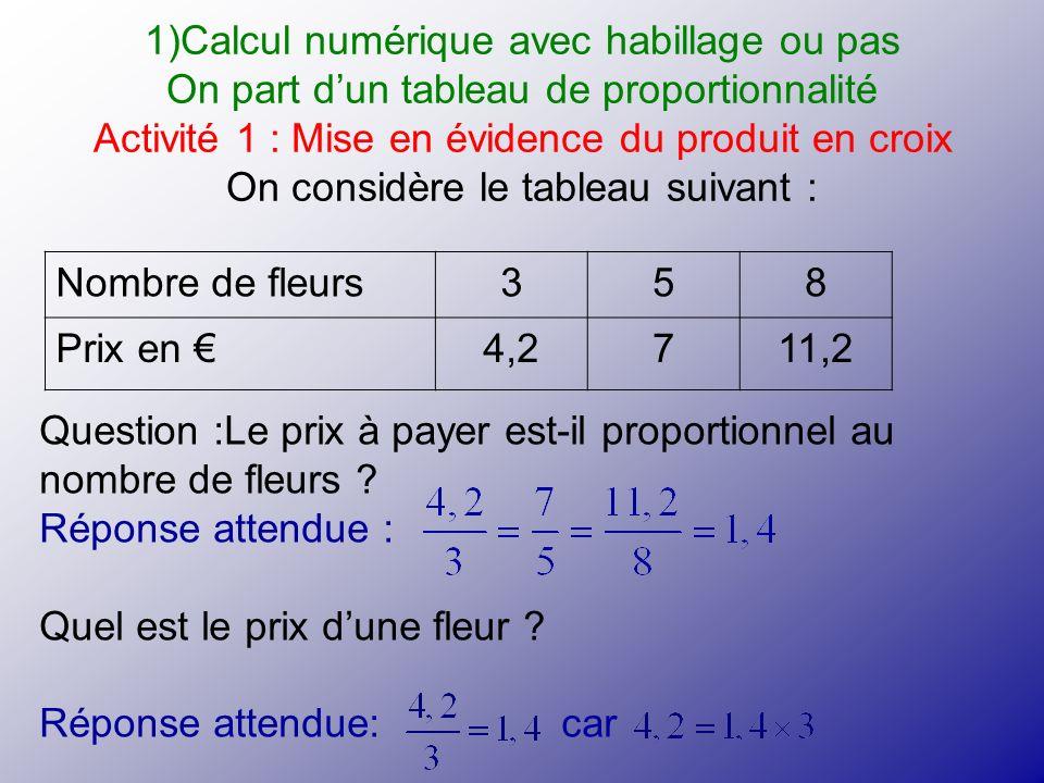 1)Calcul numérique avec habillage ou pas On part dun tableau de proportionnalité Activité 1 : Mise en évidence du produit en croix On considère le tab
