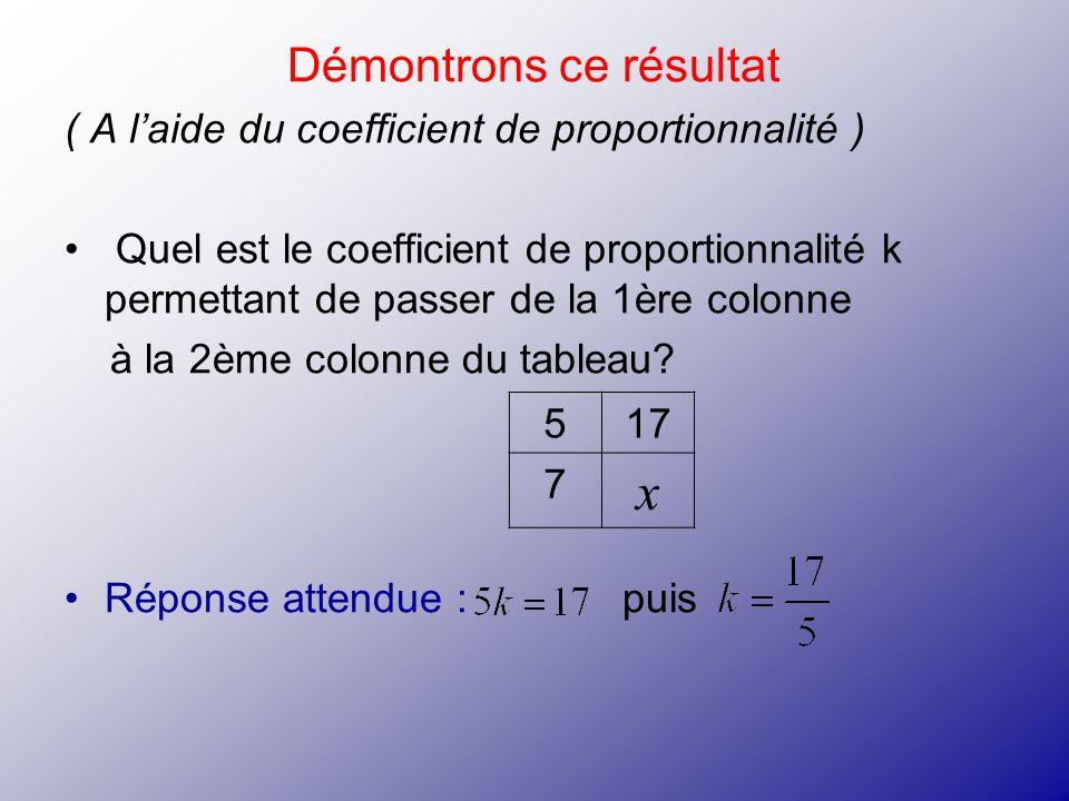 Démontrons ce résultat ( A laide du coefficient de proportionnalité ) Quel est le coefficient de proportionnalité k permettant de passer de la 1ère co