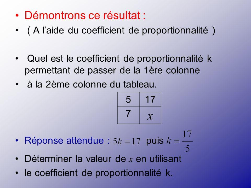 Démontrons ce résultat : ( A laide du coefficient de proportionnalité ) Quel est le coefficient de proportionnalité k permettant de passer de la 1ère