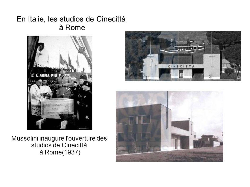 En Italie, les studios de Cinecittà à Rome Mussolini inaugure l'ouverture des studios de Cinecittà à Rome(1937)