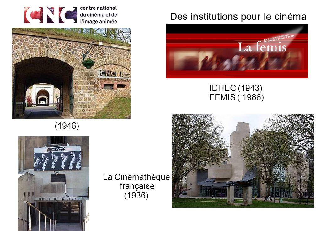 Des institutions pour le cinéma La Cinémathèque française (1936) IDHEC (1943) FEMIS ( 1986) (1946)