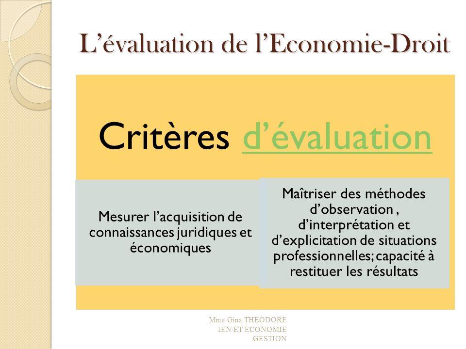 Lévaluation de lEconomie-Droit Critères dévaluationdévaluation Mesurer lacquisition de connaissances juridiques et économiques Maîtriser des méthodes