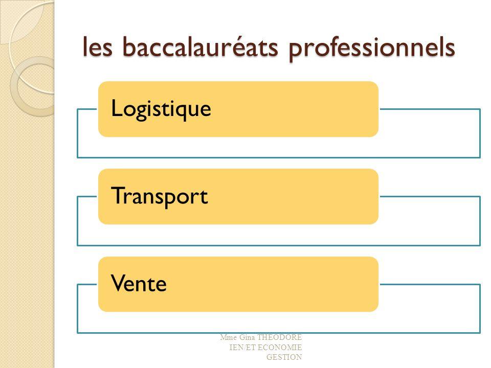 les baccalauréats professionnels LogistiqueTransportVente Mme Gina THEODORE IEN/ET ECONOMIE GESTION