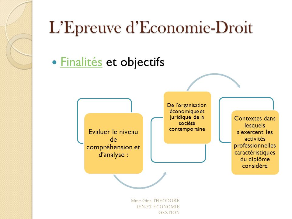 LEpreuve dEconomie-Droit Finalités et objectifs Finalités Mme Gina THEODORE IEN/ET ECONOMIE GESTION Evaluer le niveau de compréhension et danalyse : D