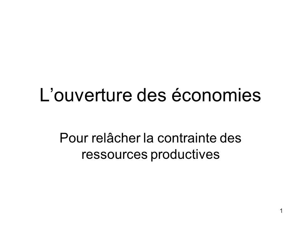 1 Louverture des économies Pour relâcher la contrainte des ressources productives