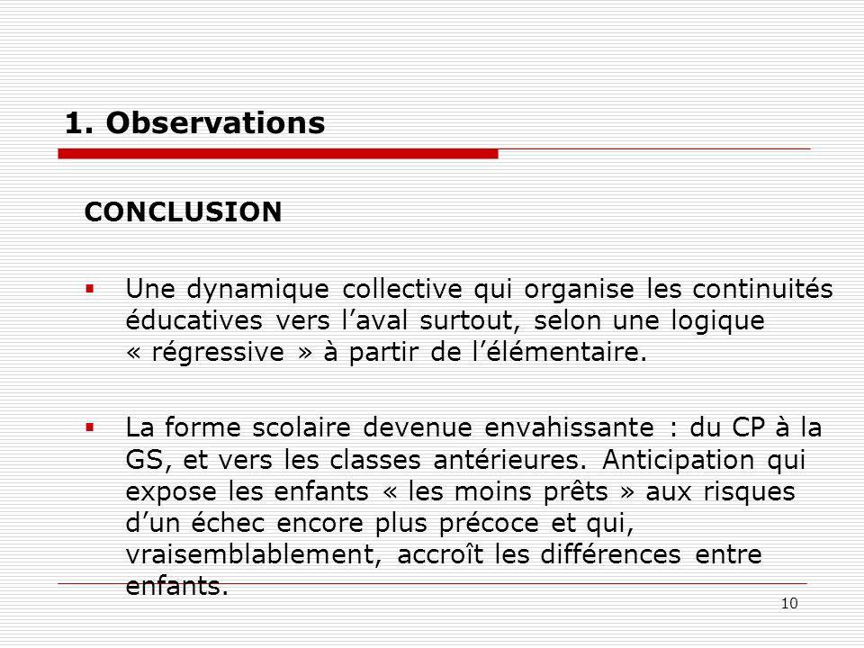 10 1. Observations CONCLUSION Une dynamique collective qui organise les continuités éducatives vers laval surtout, selon une logique « régressive » à