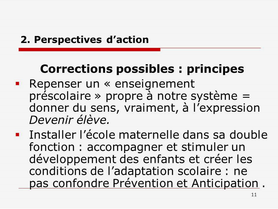 11 2. Perspectives daction Corrections possibles : principes Repenser un « enseignement préscolaire » propre à notre système = donner du sens, vraimen
