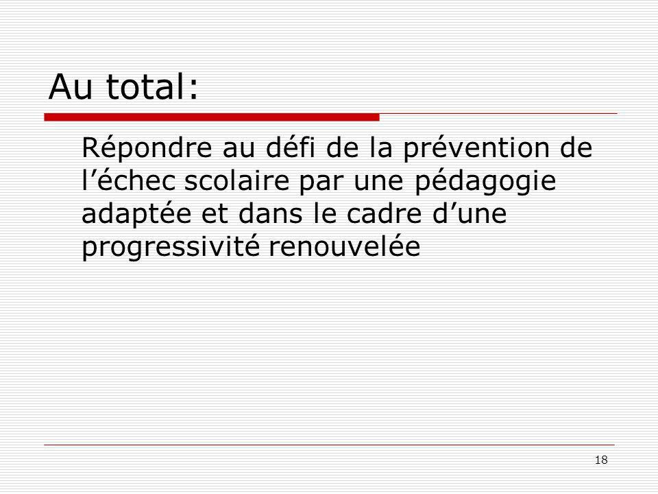 18 Au total: Répondre au défi de la prévention de léchec scolaire par une pédagogie adaptée et dans le cadre dune progressivité renouvelée