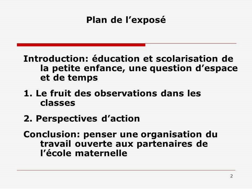 2 Plan de lexposé Introduction: éducation et scolarisation de la petite enfance, une question despace et de temps 1. Le fruit des observations dans le