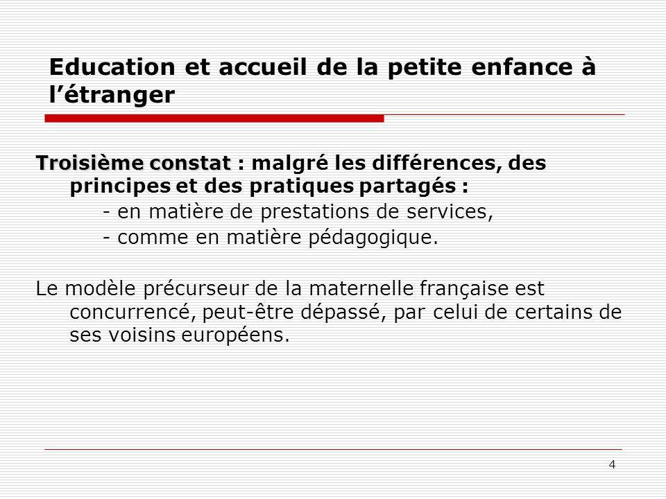 4 Education et accueil de la petite enfance à létranger Troisième constat Troisième constat : malgré les différences, des principes et des pratiques p