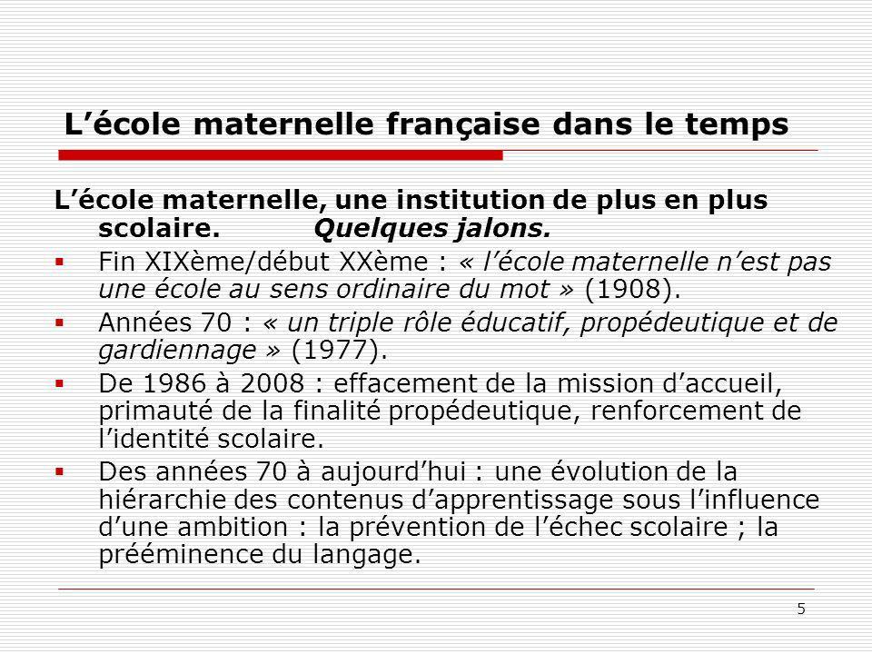 5 Lécole maternelle française dans le temps Lécole maternelle, une institution de plus en plus scolaire. Quelques jalons. Fin XIXème/début XXème : « l