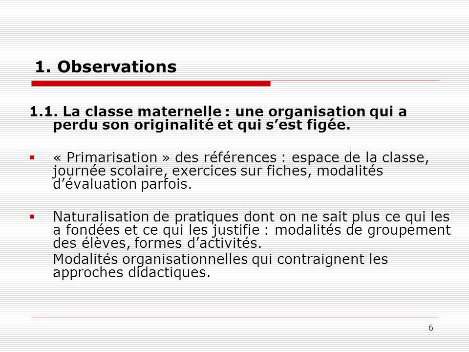 6 1. Observations 1.1. La classe maternelle : une organisation qui a perdu son originalité et qui sest figée. « Primarisation » des références : espac