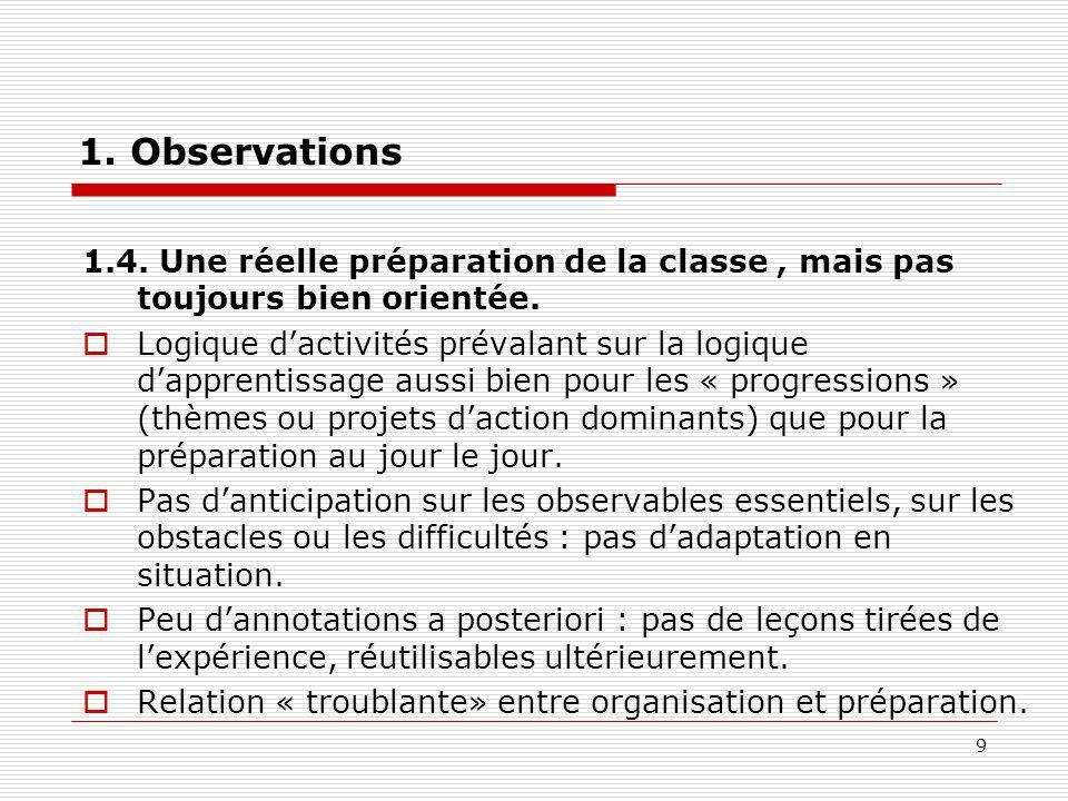 9 1. Observations 1.4. Une réelle préparation de la classe, mais pas toujours bien orientée. Logique dactivités prévalant sur la logique dapprentissag