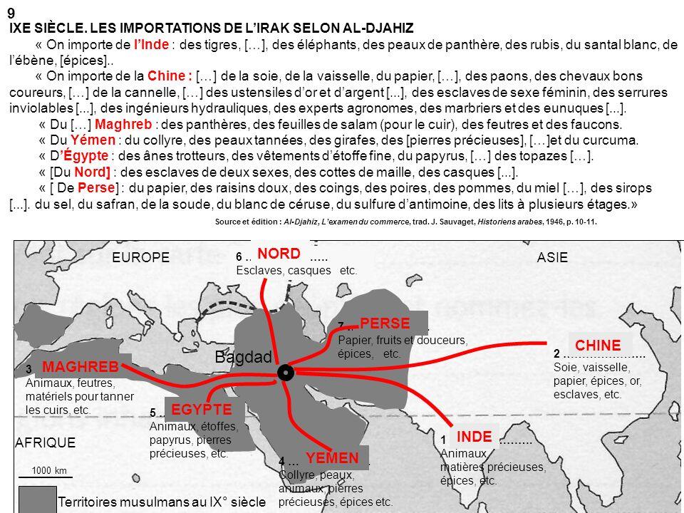 Territoires musulmans au IX° siècle AFRIQUE ASIEEUROPE 1 …………………. Animaux, matières précieuses, épices, etc. Bagdad 2 …………………. Soie, vaisselle, papier