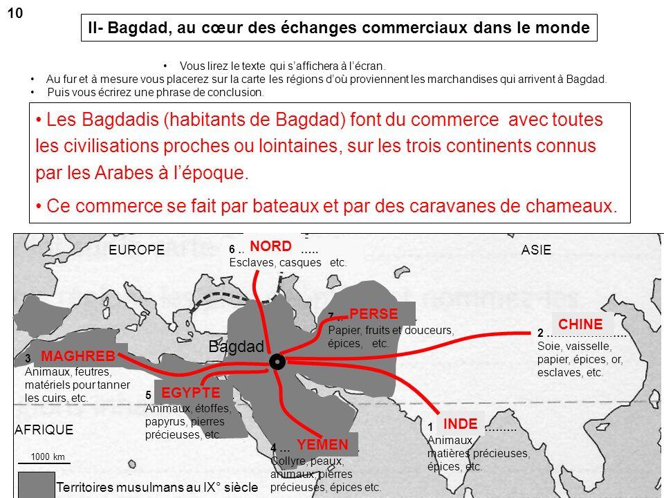 Territoires musulmans au IX° siècle AFRIQUE ASIEEUROPE IXE SIÈCLE. LES IMPORTATIONS DE LIRAK SELON AL-DJAHIZ « On importe de lInde : des tigres, […],