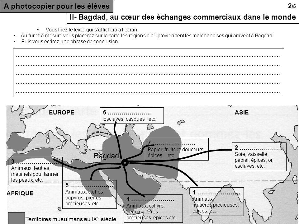 Territoires musulmans au IX° siècle AFRIQUE ASIEEUROPE 1 ………………….