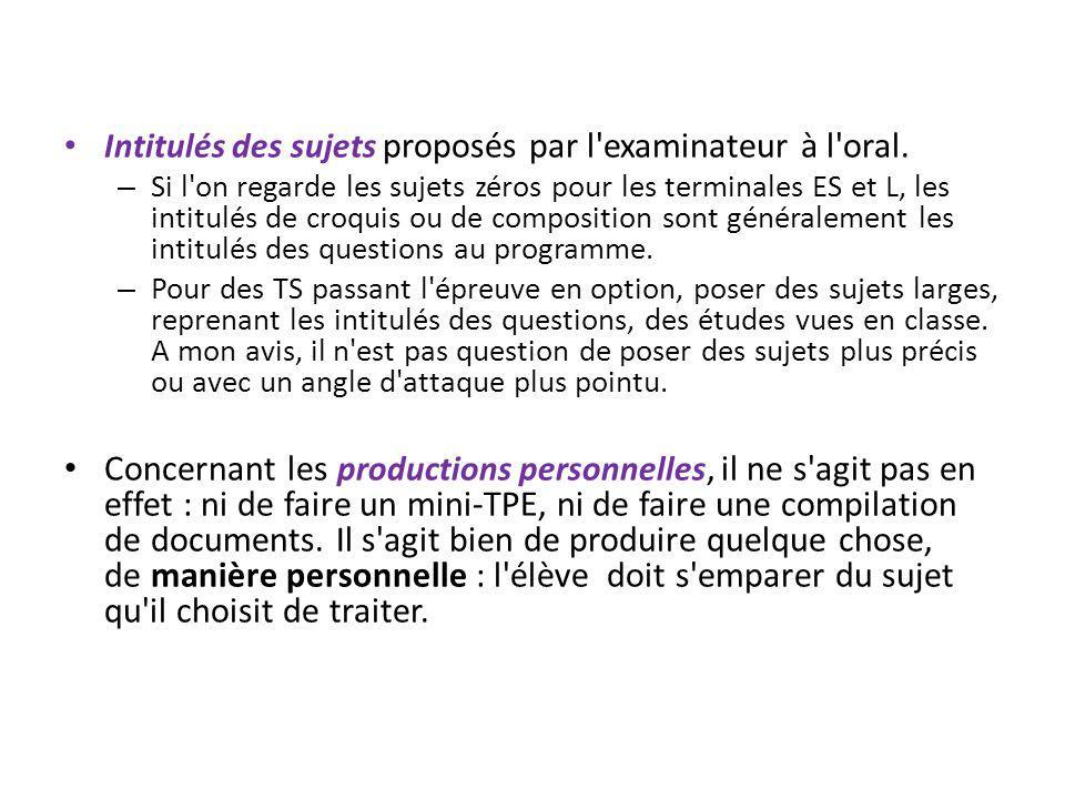 Intitulés des sujets proposés par l'examinateur à l'oral. – Si l'on regarde les sujets zéros pour les terminales ES et L, les intitulés de croquis ou