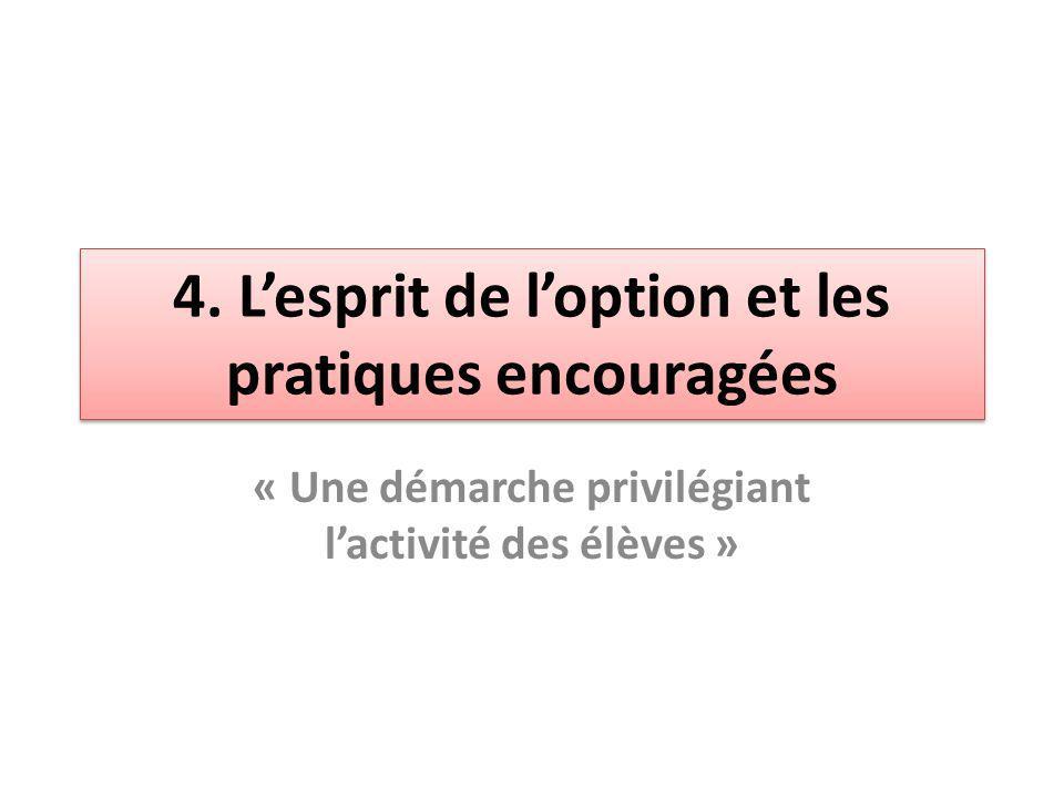 4. Lesprit de loption et les pratiques encouragées « Une démarche privilégiant lactivité des élèves »