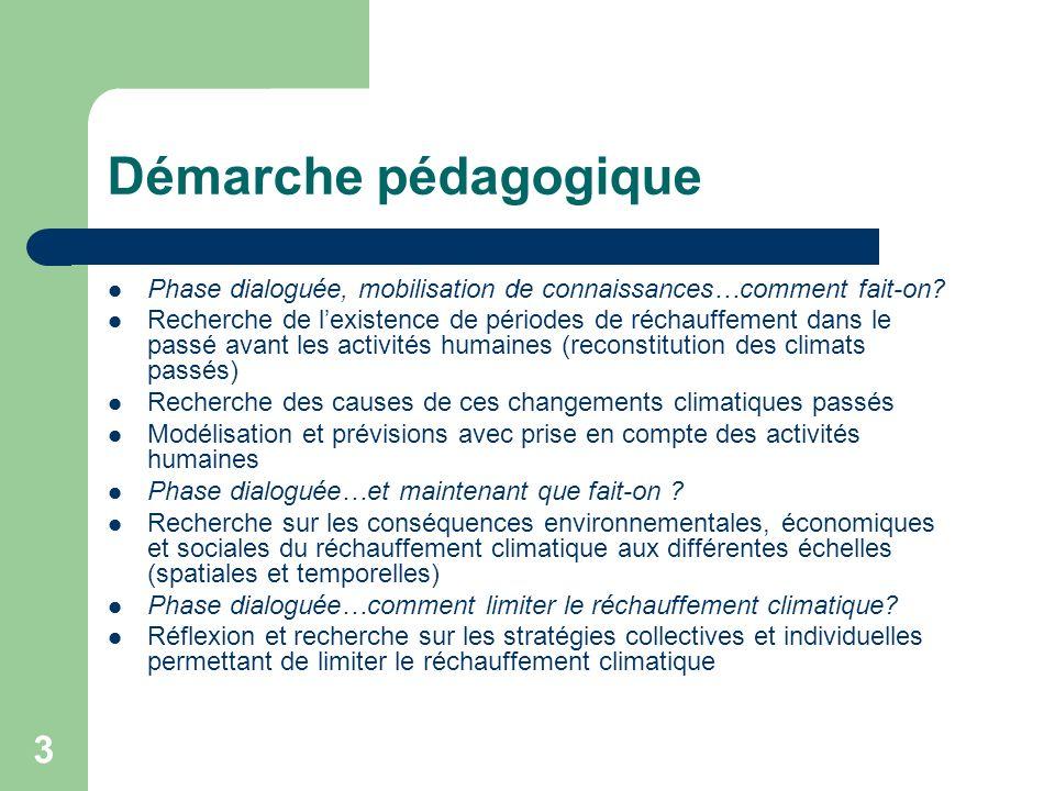 3 Démarche pédagogique Phase dialoguée, mobilisation de connaissances…comment fait-on? Recherche de lexistence de périodes de réchauffement dans le pa
