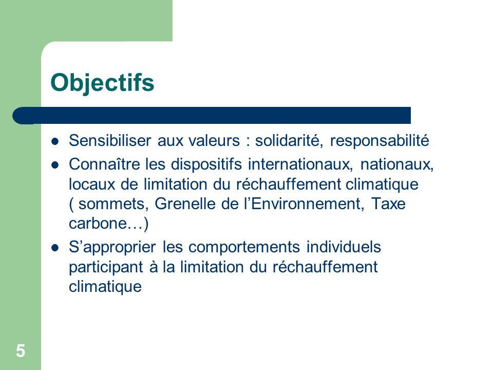 5 Objectifs Sensibiliser aux valeurs : solidarité, responsabilité Connaître les dispositifs internationaux, nationaux, locaux de limitation du réchauf