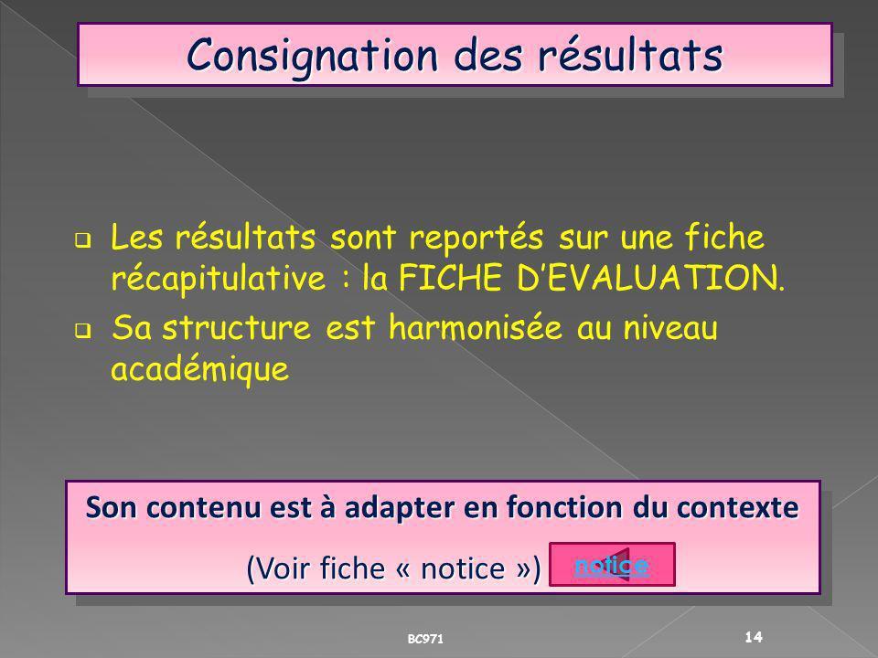 Consignation des résultats Les résultats sont reportés sur une fiche récapitulative : la FICHE DEVALUATION. Sa structure est harmonisée au niveau acad