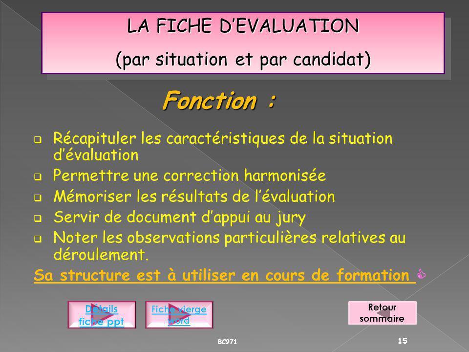LA FICHE DEVALUATION (par situation et par candidat) LA FICHE DEVALUATION (par situation et par candidat) Récapituler les caractéristiques de la situa
