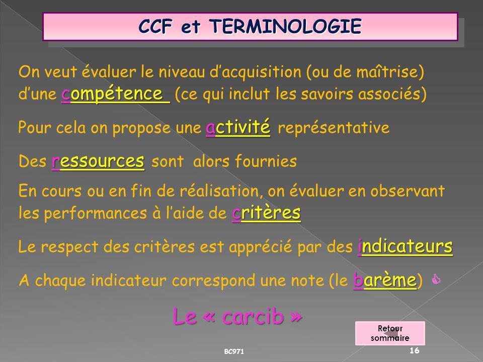 CCF et TERMINOLOGIE compétence On veut évaluer le niveau dacquisition (ou de maîtrise) dune compétence (ce qui inclut les savoirs associés) activité P