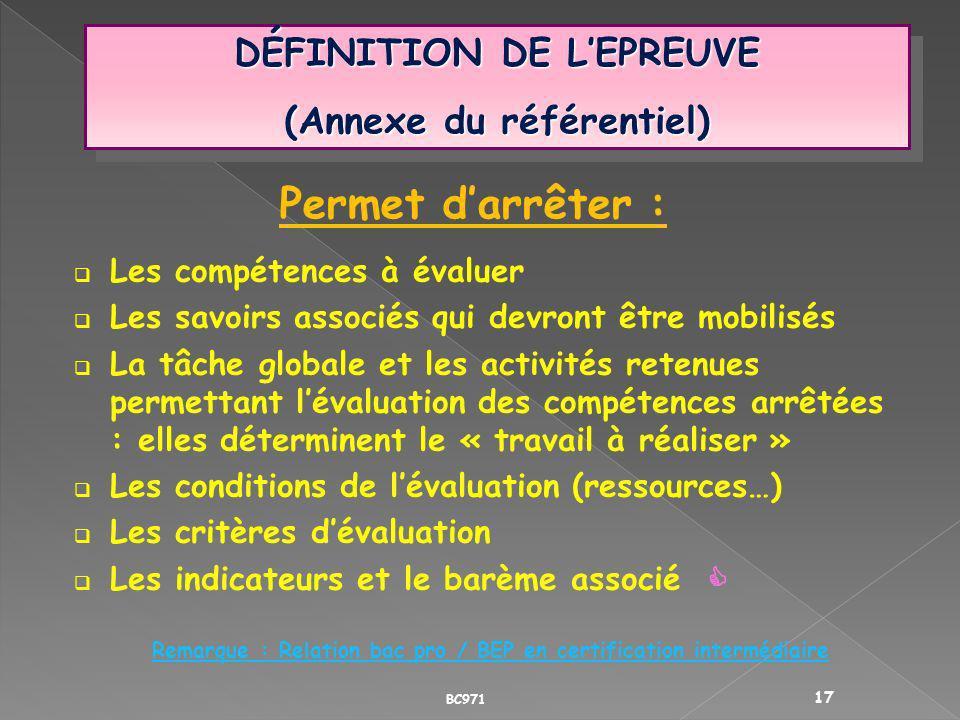 DÉFINITION DE LEPREUVE (Annexe du référentiel) DÉFINITION DE LEPREUVE (Annexe du référentiel) Permet darrêter : Les compétences à évaluer Les savoirs