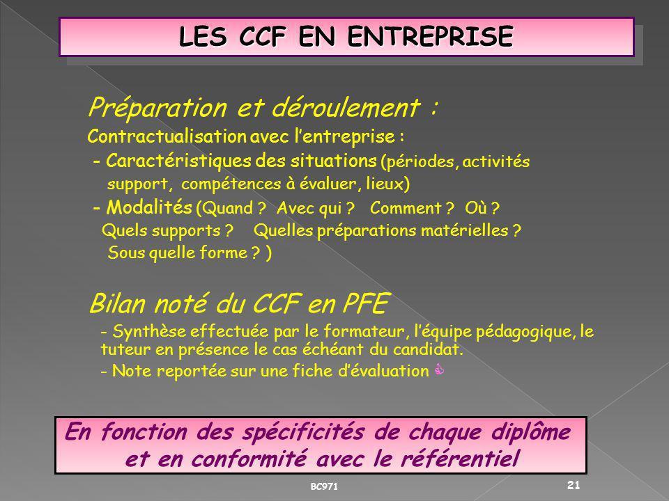 LES CCF EN ENTREPRISE Préparation et déroulement : Contractualisation avec lentreprise : - Caractéristiques des situations (périodes, activités suppor