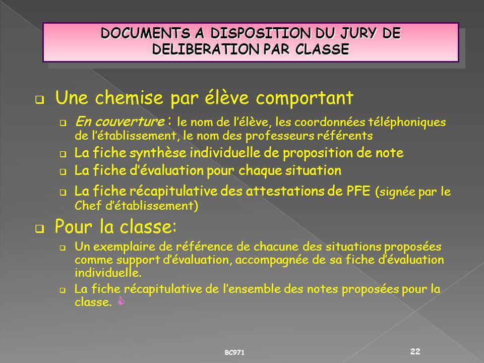 DOCUMENTS A DISPOSITION DU JURY DE DELIBERATION PAR CLASSE Une chemise par élève comportant En couverture : le nom de lélève, les coordonnées téléphon