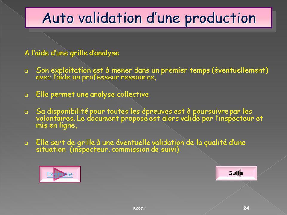 Auto validation dune production A laide dune grille danalyse Son exploitation est à mener dans un premier temps (éventuellement) avec laide un profess