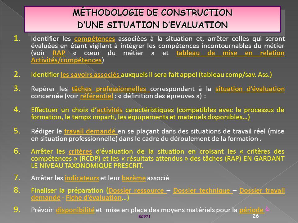 MÉTHODOLOGIE DE CONSTRUCTION DUNE SITUATION DEVALUATION MÉTHODOLOGIE DE CONSTRUCTION DUNE SITUATION DEVALUATION 1. Identifier les compétences associée