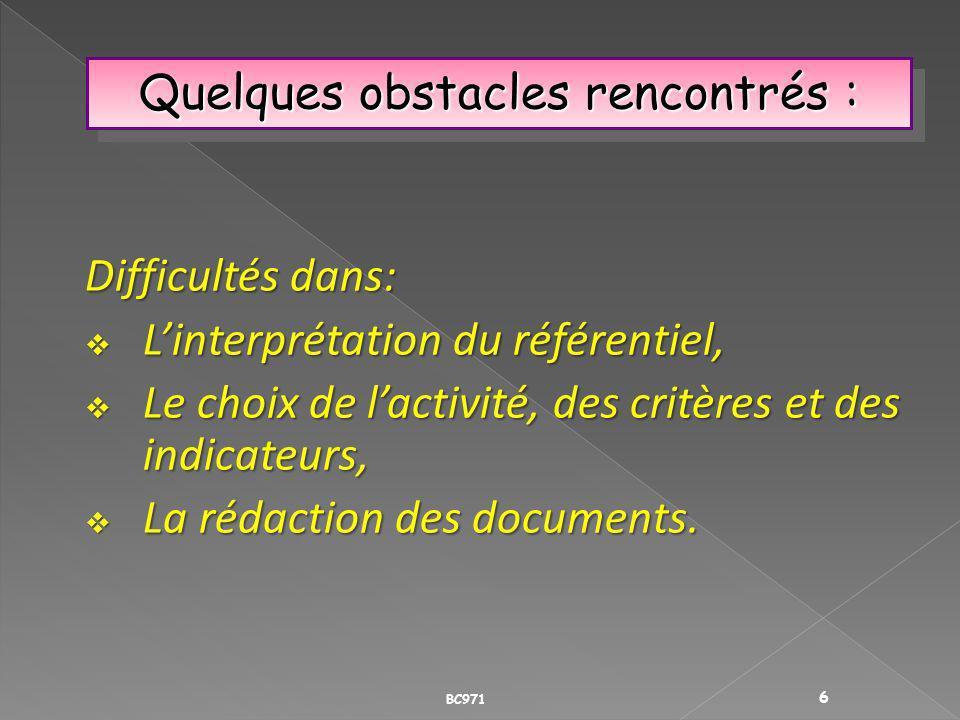 Quelques obstacles rencontrés : Difficultés dans: Linterprétation du référentiel, Linterprétation du référentiel, Le choix de lactivité, des critères