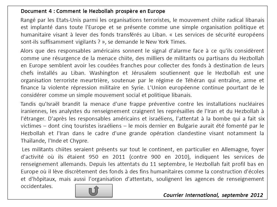 Document 4 : Comment le Hezbollah prospère en Europe Rangé par les Etats-Unis parmi les organisations terroristes, le mouvement chiite radical libanai