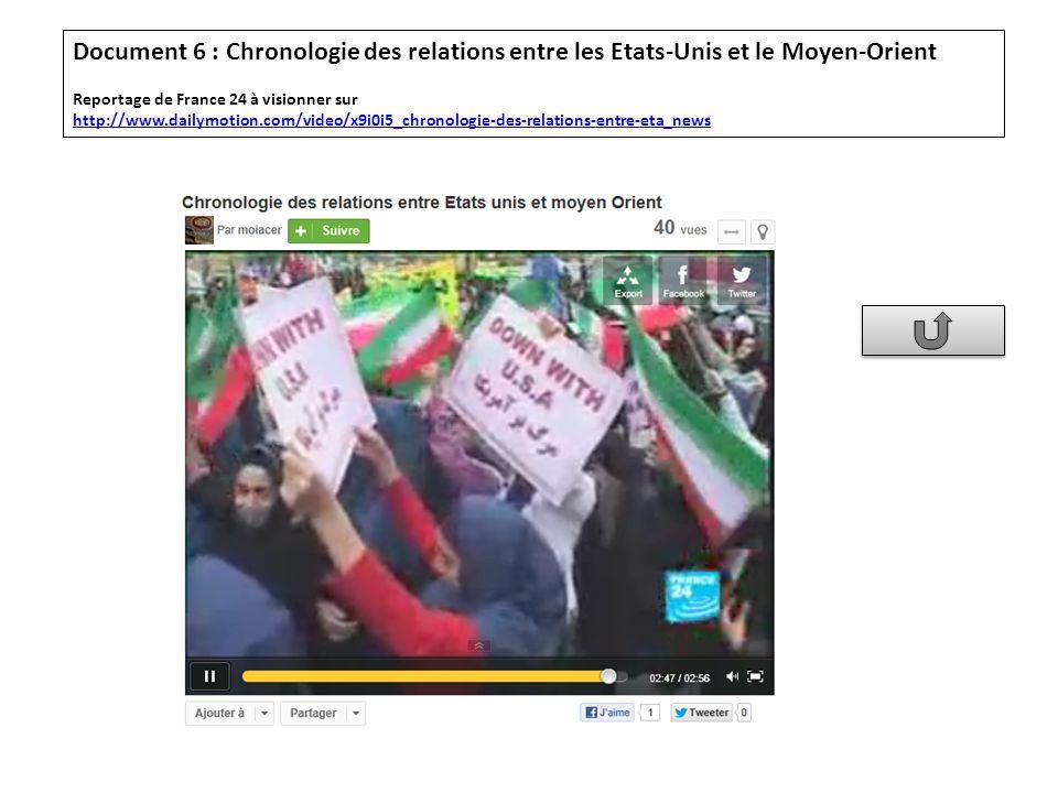 Document 6 : Chronologie des relations entre les Etats-Unis et le Moyen-Orient Reportage de France 24 à visionner sur http://www.dailymotion.com/video