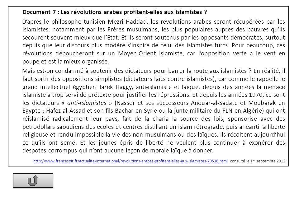 Document 7 : Les révolutions arabes profitent-elles aux islamistes ? Daprès le philosophe tunisien Mezri Haddad, les révolutions arabes seront récupér