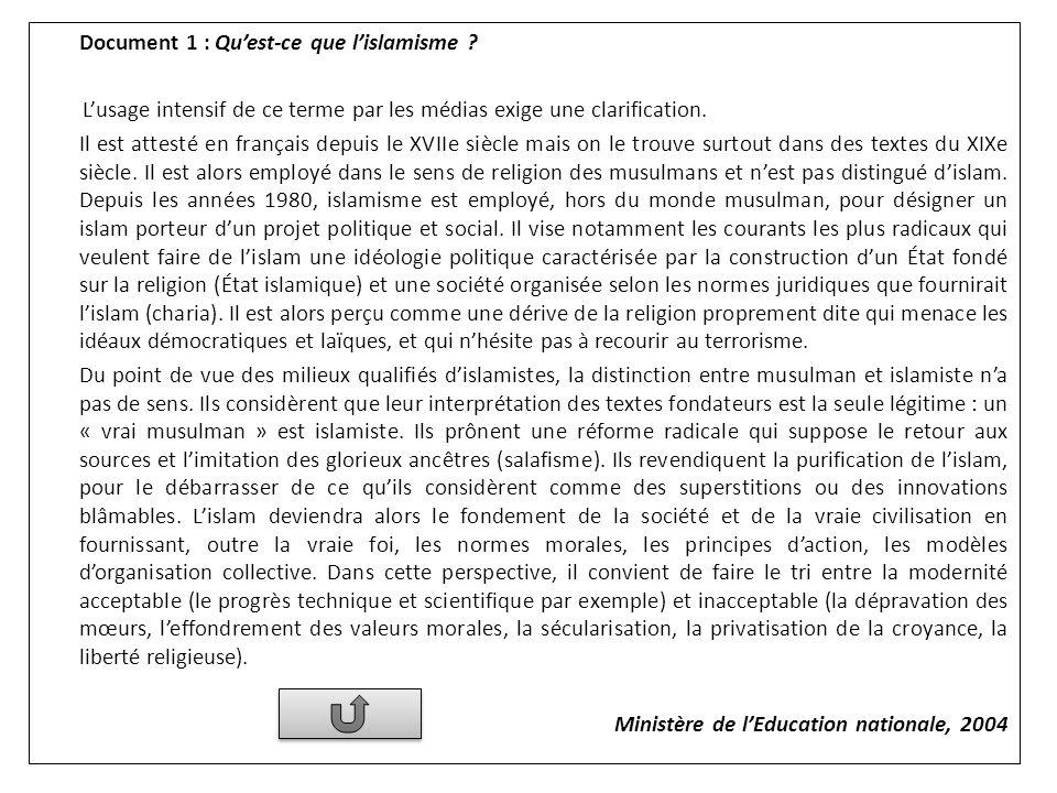 Document 1 : Quest-ce que lislamisme ? Lusage intensif de ce terme par les médias exige une clarification. Il est attesté en français depuis le XVIIe