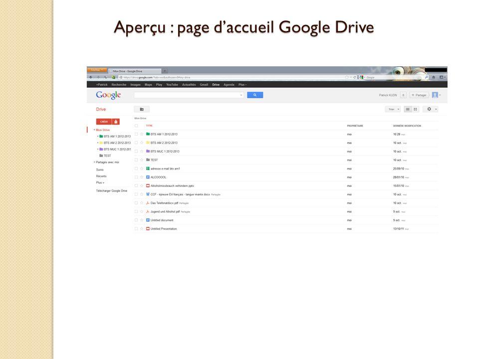 Aperçu : page daccueil Google Drive