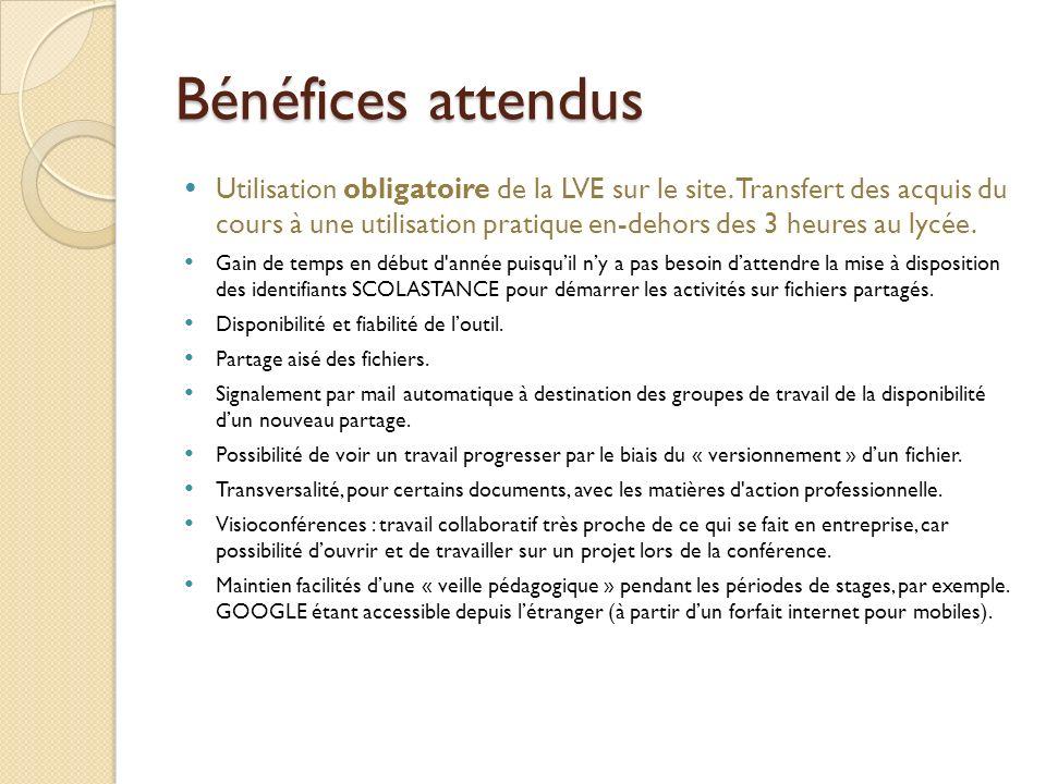 Bénéfices attendus Utilisation obligatoire de la LVE sur le site.