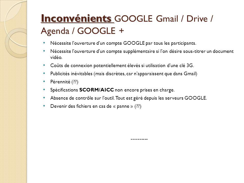 Inconvénients Inconvénients GOOGLE Gmail / Drive / Agenda / GOOGLE + Nécessite louverture dun compte GOOGLE par tous les participants. Nécessite louve