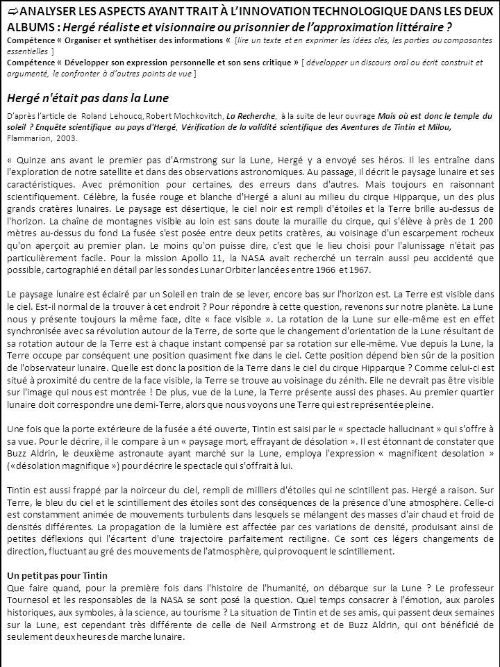 ANALYSER LES ASPECTS AYANT TRAIT À LINNOVATION TECHNOLOGIQUE DANS LES DEUX ALBUMS : Hergé réaliste et visionnaire ou prisonnier de lapproximation litt