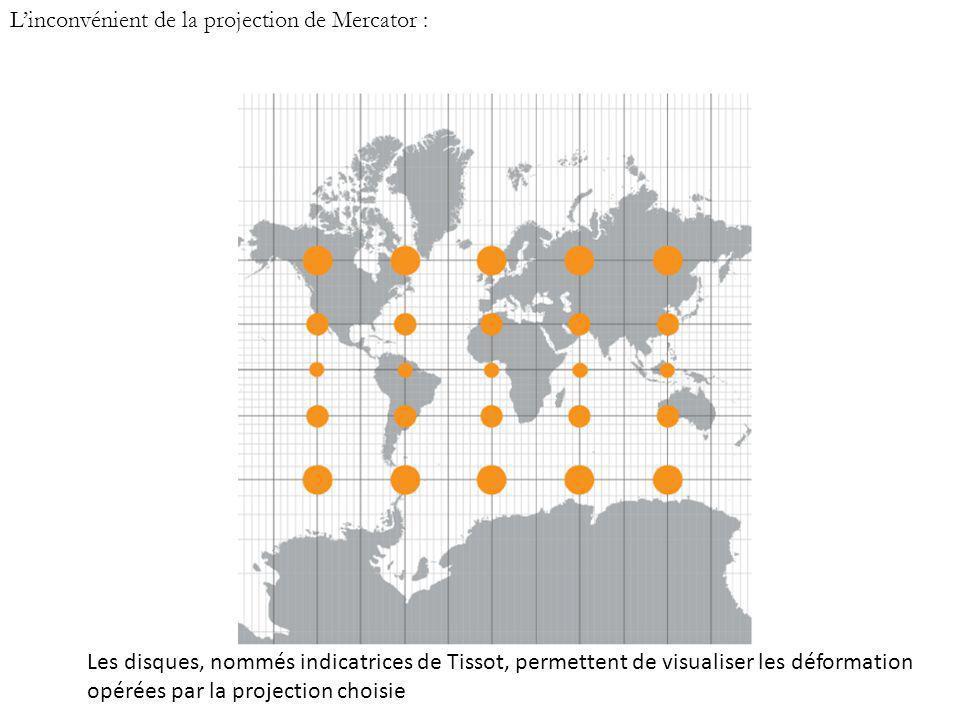 Linconvénient de la projection de Mercator : Les disques, nommés indicatrices de Tissot, permettent de visualiser les déformation opérées par la proje