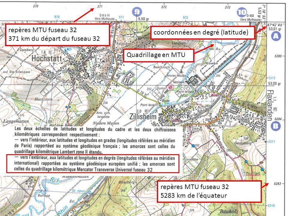 Quadrillage en MTU repères MTU fuseau 32 5283 km de léquateur repères MTU fuseau 32 371 km du départ du fuseau 32 coordonnées en degré (latitude)